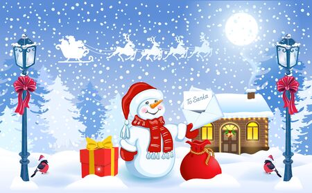 Christmas card with funny Snowman in Santa hat holding envelope with wish list for Santa Claus and Santas workshop against winter forest background and Santa Claus in sleigh with reindeer team flying in the sky