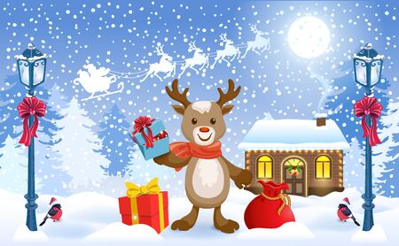 Christmas card with funny fawn deer holding gift box and Santas workshop against winter forest background and Santa Claus in sleigh with reindeer team flying in the sky