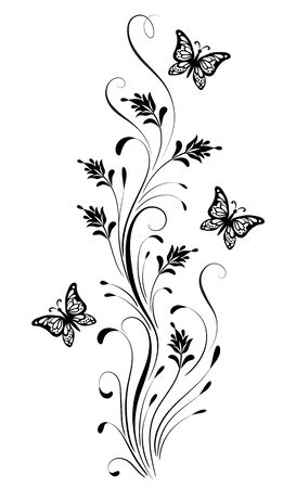 Vintage floral ornament with butterfly and flowers for greeting card isolated on white background