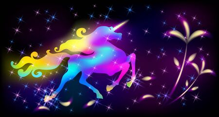 Galloping iridescent unicorn with luxurious winding mane prancing against the background of the fantasy universe with sparkling shining stars and glowing flowers  イラスト・ベクター素材