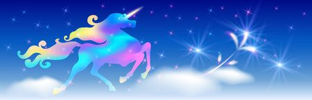 Galloping iridescent unicorn with luxurious winding mane prancing against the background of the fantasy universe with sparkling shining stars and glowing flowers