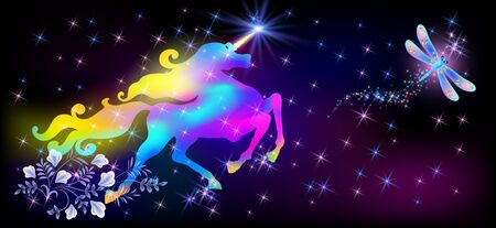 Flying dragonfly and galloping iridescent unicorn with luxurious winding mane against the background of the fantasy universe with sparkling stars Illustration