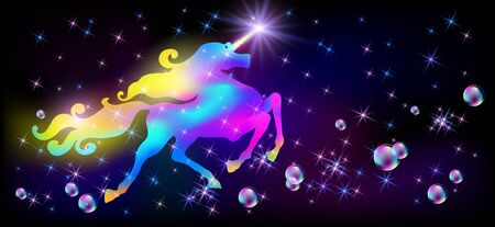 Galloping iridescent unicorn with luxurious winding mane and flying soap bubble against the background of the fantasy universe with sparkling stars