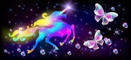 Unicorn with luxurious winding mane, glowing star on horn and flying butterflies against the background of the fantasy universe with sparkling stars Stock Illustratie