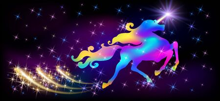 Neon unicorn with luxurious winding mane, glowing star on horn and shiny fireworks against the background of the fantasy universe with sparkling stars