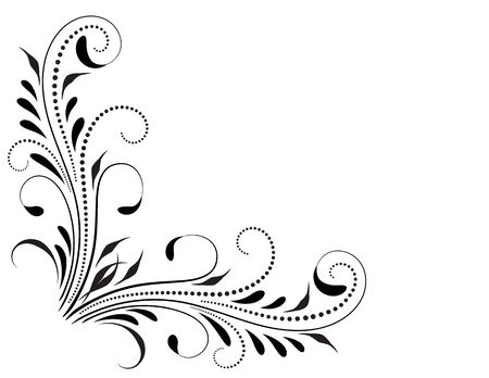 Decorative floral corner ornament for angular stencil isolated on white