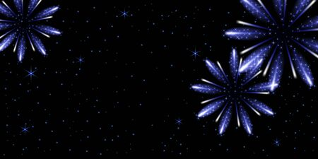 Glowing sparkle salute with neon shiny stars. Holiday celebration background.