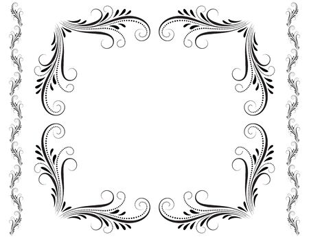Decorative vintage frame with floral ornament with border in retro style isolated on white background