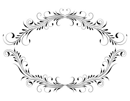 Decorative vintage frame with floral ornament and border border in retro style isolated on white background Illustration