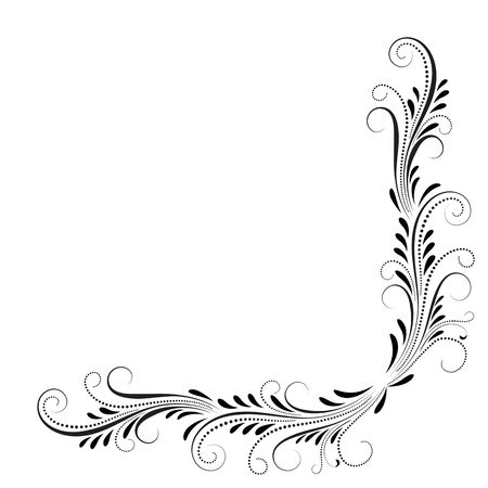 Decorative floral corner ornament for angular stencil isolated on white background Stock Illustratie