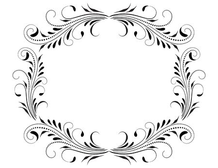 Decorative vintage frame with floral ornament and border border in retro style isolated on white background
