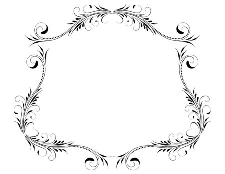 Decorative vintage frame with floral ornament and border border in retro style isolated on white background Stock Illustratie