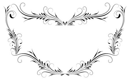 Decorative vintage frame with floral ornament and border border in retro style isolated on white background Vetores