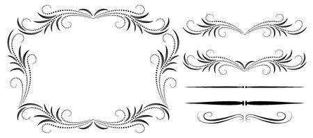Set vintage symmetric ornament, frame and decorative divider for greeting card, invitation postcard or congratulation text