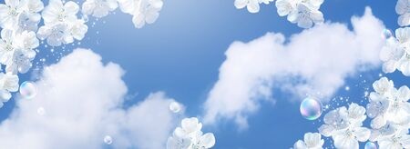 Amazing white cherry flowers and soap bubbles against the clouds sky. Spring banner. Concept clean air and ecology environment.