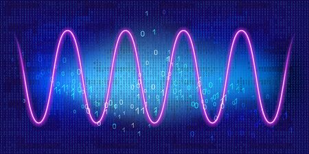 Graph with neon periodic sinusoidal curve on luminous blue background with binary code. Concept of technology of discrete data transfer in computer network.