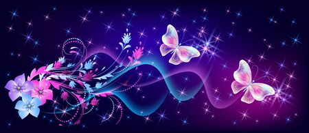 Flying fantasy fabulous butterflies with mystical flowers ornament and sparkle glowing stars