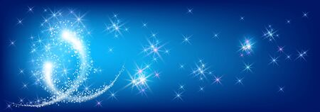 Two lovers blazing comets flying in outer space in the blue night sky with sparkling shining fantastic stars. Cosmic heavenly fantasy.