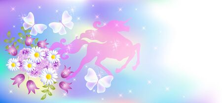 Mystical galloping unicorn with luxurious winding mane against the background of the iridescent universe with sparkling stars and spring flowers. Stock Illustratie