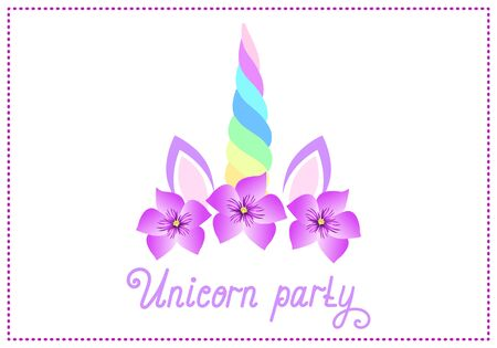 Fabulous cute unicorn with beautiful flowers wreath on white background with handwritten invitation text
