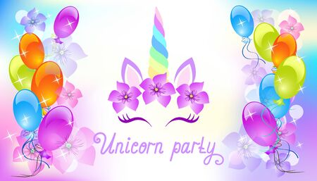 Fabulous cute unicorn with beautiful flowers wreath on background of balloons with flowers and stars with handwritten invitation text