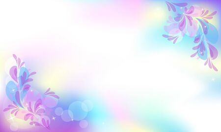 Background habitat mystical fabulous unicorn iridescent universe with sparkling stars and spring magic floral with copy space