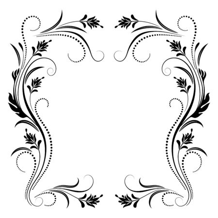 Decorative vintage frame with floral ornament in retro style isolated on white background Illustration