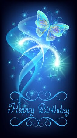 Congratulatory card or e-card birthday with fantasy magic butterfly on blue background with sparkle glowing stars, fireworks and salute