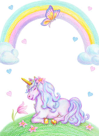 Fantasy watercolor pencil drawing of mythical sleeping Unicorn on green grass against clouds and rainbow background and flying butterfly. Birthday party invitation card template design.