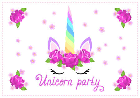 Fabulous cute unicorn with beautiful roses flowers wreath on white background with handwritten invitation text