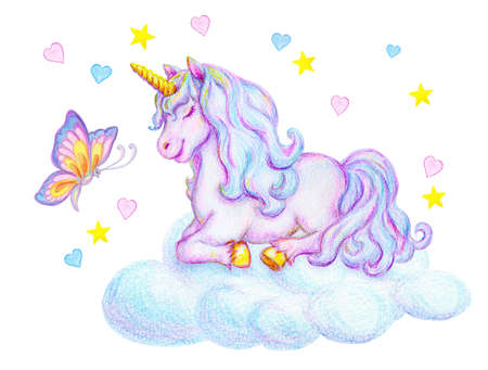 Fantasy watercolor pencil drawing of mythical sleeping Unicorn with butterfly on cloud against small pink and blue hearts and stars