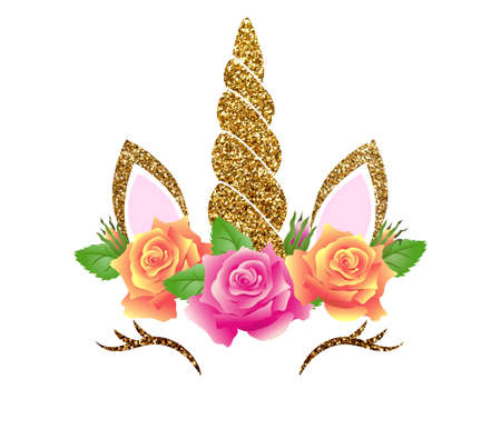 Fabulous cute unicorn with golden gilded horn and beautiful roses flowers wreath isolated on white background