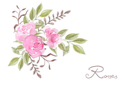 Hand drawn watercolor painting with pink roses flowers bouquet isolated on white background. Floral summer ornament. Design element. Stockfoto