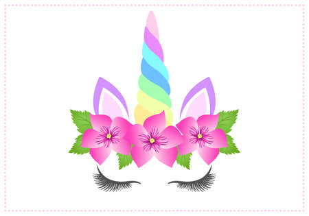 Fabulous cute unicorn with beautiful pink flowers wreath and rainbow horn on white background
