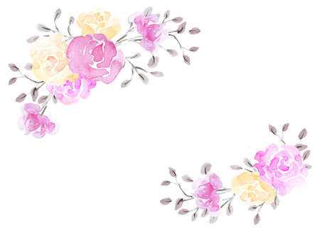 Hand drawn watercolor painting with pink and yellow roses flowers bouquet isolated on white background. Floral corner ornament. Design element.