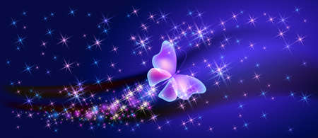 Flying fantasy fabulous butterfly with mystical transparent wings and sparkle glowing stars Illusztráció