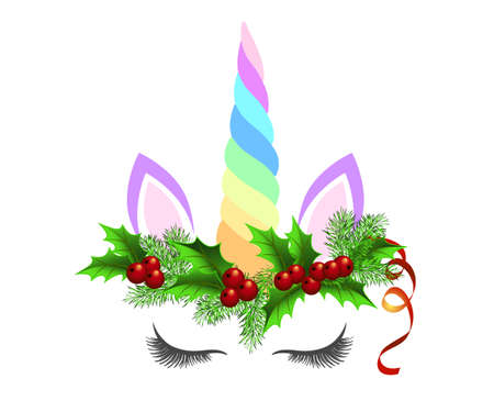 Unicorn wearing Christmas wreath made of fir tree branches and holly berries. Horse head with rainbow horn isolated on white background.