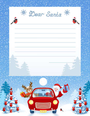 Layout letter to Santa Claus with wish list and cartoon funny Santa Claus and fawn deer in red vintage car with gift box against winter forest background.