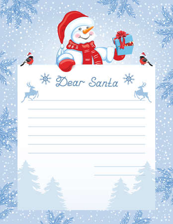 Layout letter to Santa Claus with wish list and cartoon funny Snowman with Christmas gift box and bullfinch 向量圖像