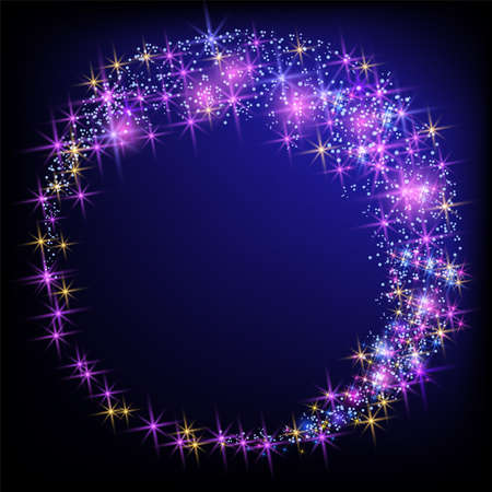 Glowing magic round frame. Fantasy salute and shining firework with sparkle dust stars. 向量圖像