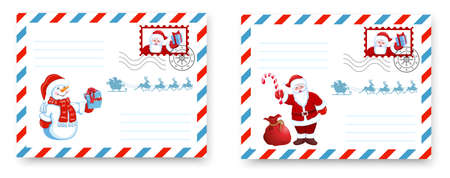 Christmas Envelope template. Layout letter to Santa Claus with cartoon Santa and funny Snowman with Christmas gift box.