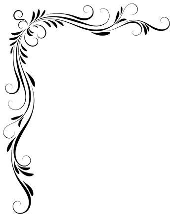 Decorative floral corner ornament for angular stencil isolated on white background Ilustração Vetorial