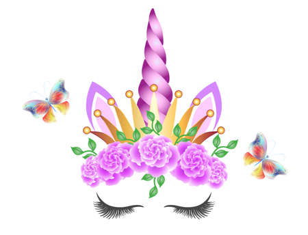 Fabulous cute unicorn with golden crown, purple horn and pink roses flowers wreath isolated on white background. Fairy unicorn princess in crown and flying butterflies.