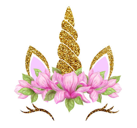 Fabulous cute unicorn with golden gilded horn and beautiful flowers flowers wreath isolated on white background