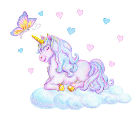 Fantasy watercolor pencil drawing of mythical sleeping Unicorn with flying magic butterfly on cloud against small pink and blue hearts