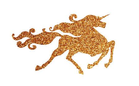 Fabulous galloping sparkle golden unicorn with luxurious mane isolated on white background. Gilded glitter unicorn.