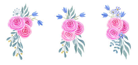 Hand drawn watercolor painting clipart with pink roses and bluebell flowers bouquet isolated on white background. Spring floral ornament set. Design element.