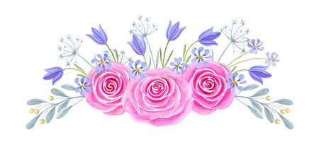 Hand drawn watercolor painting with pink roses and bluebell flowers bouquet isolated on white background. Floral ornamen. Design element.