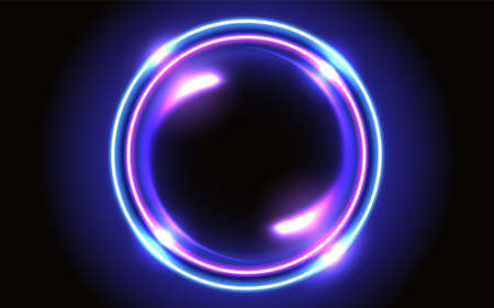 Abstract fantastic background with neon glowing round frame and shiny space portal into another dimension 矢量图像