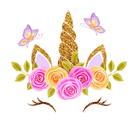 Fabulous cute unicorn and flying butterflies with golden gilded horn and beautiful roses flowers wreath isolated on white background
